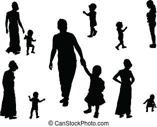 vector, -, kinderen, verzameling