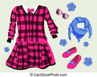 vector, kinderkleding, lace., colors., tule, girls., ...