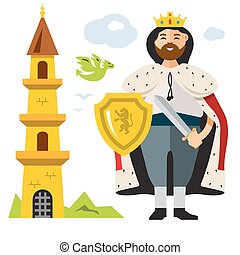 Vector King. Flat style colorful Cartoon illustration.