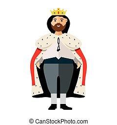 Vector King. Flat style colorful Cartoon illustration.