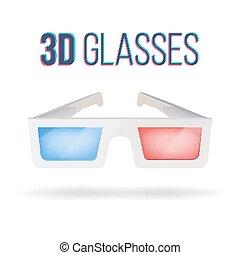 vector., kino, blue., odizolowany, glasses., realistyczny, czerwony, papier, ilustracja, tło, biały, okulary, 3d