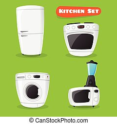 Vector kitchen appliance collection. Fridge, stove, microwave oven, washing machine and mixer icons in cartoon style