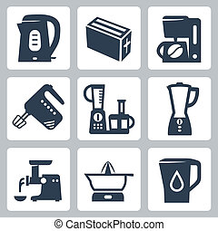 Vector kitchen appliances icons set