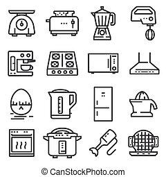Vector Kitchen Appliances Line Icons Set