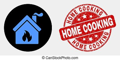 Vector Kitchen Building Icon and Scratched Home Cooking Watermark