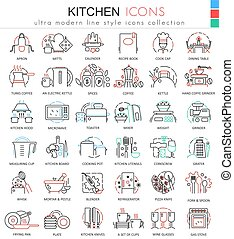 Vector Kitchen color flat line outline icons for apps and web design. Kitchen tools icons.