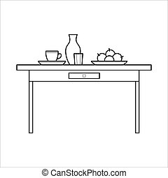 Vector kitchen table with utensils