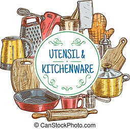 Vector kitchen utensils and kitchenware sketch