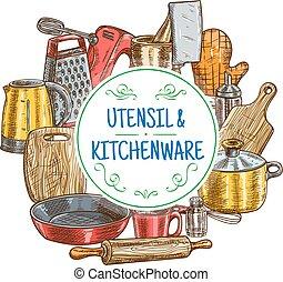 Vector kitchen utensils and kitchenware sketch