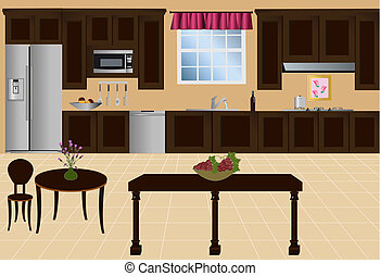 Vector Kitchen - Kitchen with island, cabinets and...