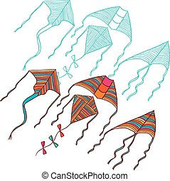 Vector kites for your design. Hand drawn illustration