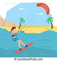 Vector kitesurfing girl concept. Flat style. Web...