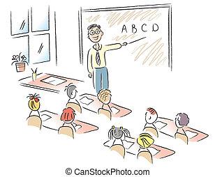vector, klaslokaal, met, leraar, en, onderricht kinderen