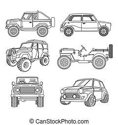 vector, klassieke auto's