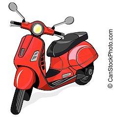 vector, kleine, stad, motorfiets