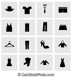 vector, kleren, pictogram, set