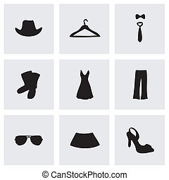 vector, kleren, set, black , iconen