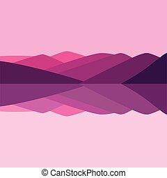 vector, kleur, illustratie, van, berg landschap, en, rivier