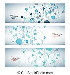 vector, kleur, netwerk, verbinding, en, dna, atoom