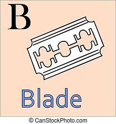 vector, kleuren, alphabet., lemmet, b, letter., boek