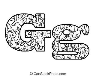 vector, kleuren, g, alfabet, illustratie, boek, anti, brief