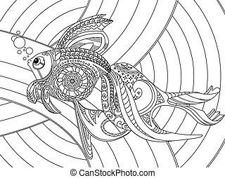 vector, kleuren, volwassenen, gouden vis, boek
