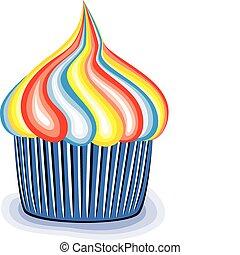 vector, kleurrijke, cupcake