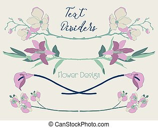 vector, kleurrijke, floral, tekst, dividers., bloem, ontwerp onderdelen