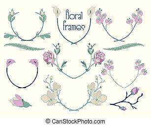 vector, kleurrijke, floral, tekst, lijstjes, takken, laurels