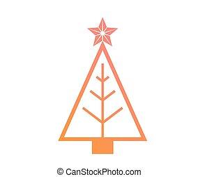 vector, kleurrijke, helling, kerstboom, plat, pictogram