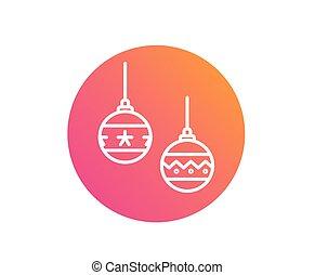 vector, kleurrijke, helling, kerstmis bal, versiering, lijn, pictogram