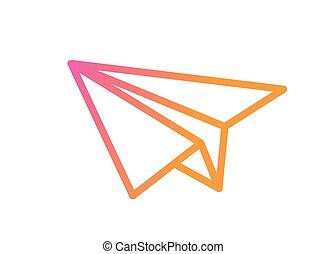 vector, kleurrijke, helling, roze, om te, sinaasappel, papieren vliegtuig, pictogram