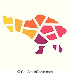 vector, kleurrijke, map-, geometrisch, illustratie, bali