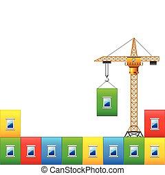 vector, kleurrijke, muur, huizenbouw, kraan