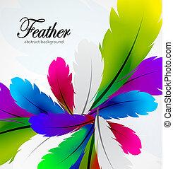 vector, kleurrijke, veer, achtergrond