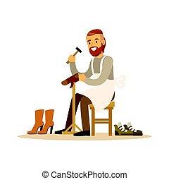 vector, kleurrijke, verstelwerk, karakter, illustratie, workshop, schoen, schoenmaker