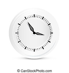 vector, klok, abstract, vrijstaand, papier, achtergrond, witte