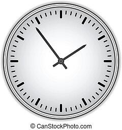 vector, klok gezicht, -, gemakkelijk, veranderen, tijd