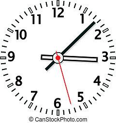 vector, klok, illustratie, gezicht