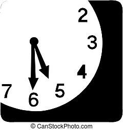 vector, -, klok, pictogram, gezicht