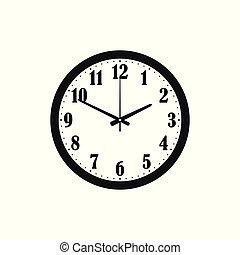 vector, klok, vrijstaand, illustratie, silhouette, achtergrond, witte , pictogram