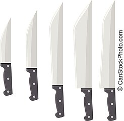 Vector Knife set with flat and solid color design.