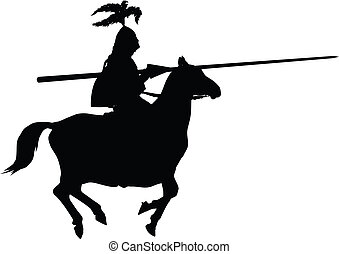Vector knight - Detailed silhouette of knight with lance on...