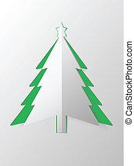 vector, knippen, boompje, papier, kerstmis, uit