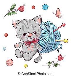 vector, knitting., drawing., ilustración, pelota, conjunto de mano, hilo, gatito