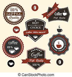 vector, koffie, etiketten, set