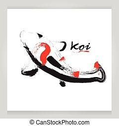 vector koi black on white background