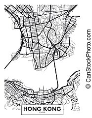 vector, kong, ciudad, hong, mapa, cartel