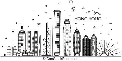 vector, kong, ilustración, estilo, hong, lineal, contorno