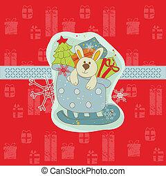 vector, konijntje, kaart, kerstmis